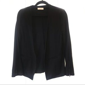 Elodie Black Casual Blazer with Zipper Detail, L